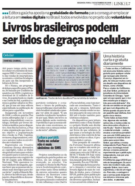 Livros brasileiros podem ser lidos de graça no celular - O Estado de SP - setembro/2009