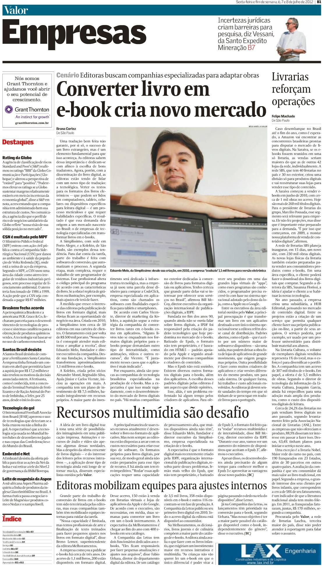 Matéria no jornal Valor Econômico - 07/2012